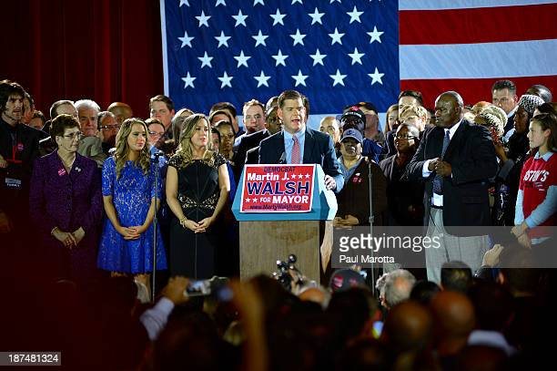 Boston Mayor Elect Marty Walsh speaks to the crowd after winning the election to become Boston's Next Mayor Walsh defeated John Connolly on November...