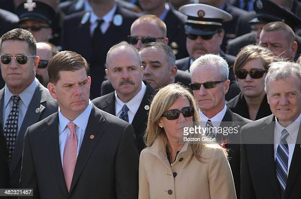 Boston Mayor Marty Walsh and Lorrie Higgins outside the church The funeral service for Boston Firefighter Michael R Kennedy was held at Holy Name...