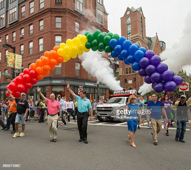 Boston Mayor Marty Walsh and MA Governor Deval Patrick cut the ribbon to open the Boston Pride Parade on June 14 2014 Lorrie Higgins Mayor Walsh's...