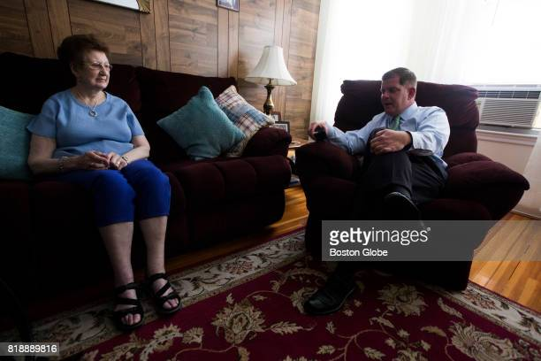 Boston Mayor Marty Walsh chats with his mother Mary in the family home in Boston on Jun 19 2017