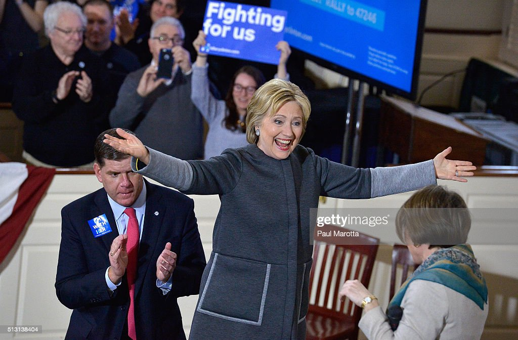 Democratic Presidential Candidate Hillary Clinton Rallies In Boston Ahead Of Super Tuesday Primary : News Photo