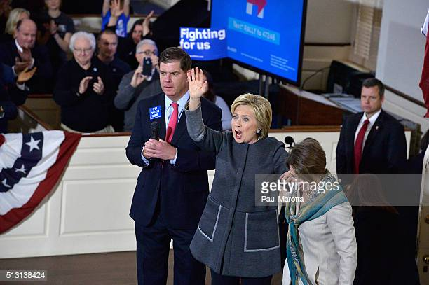 Boston Mayor Marty Walsh Democratic Presidential candidate Hillary Clinton and Massachusetts Attorney General Maura Healey attend the 'Get Out The...