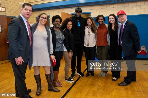 Boston Mayor Marty Walsh Former Boston Red Sox designated hitter David Ortiz and Boston Public Schools Superintendent Tommy Chang pose for a...