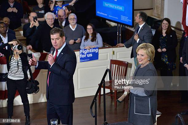 Boston Mayor Marty Walsh introduces Democratic Presidential candidate Hillary Clinton at the 'Get Out The Vote' rally at Old South Meeting House on...