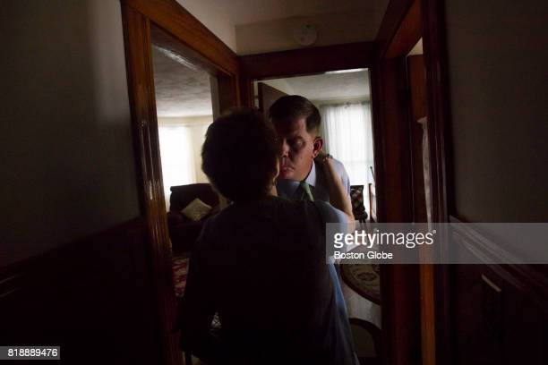Boston Mayor Marty Walsh kisses his mother Mary after visiting the family home in Boston on Jun 19 2017