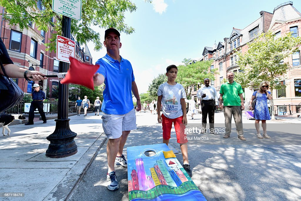 Boston Mayor Marty Walsh shops and meets shoppers and shop owners on Newbury Street during its first 'Open Newbury Street' transforming the street into a pedestrian-pnly walkway for the day on August 7, 2016 in Boston, Massachusetts.