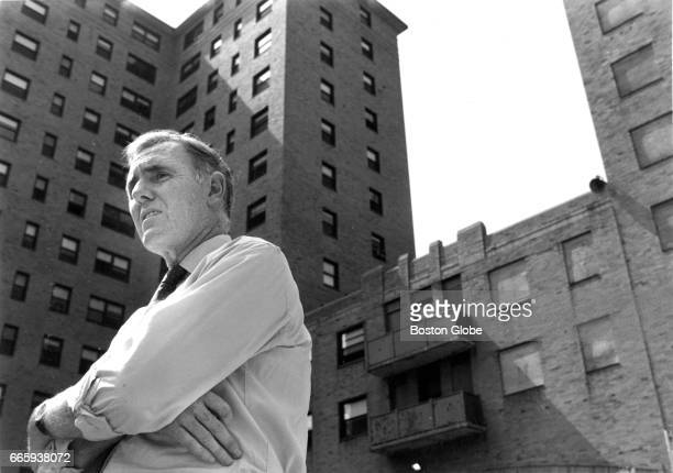 Boston Mayor Ray Flynn is pictured at the Cathedral Housing development in the South End of Boston during a groundbreaking for a new development on...