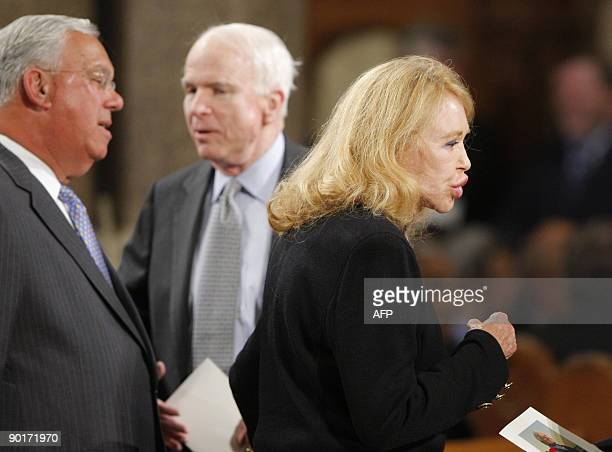 Boston Mayor Thomas Menino US Senator John McCain and Joan Kennedy exwife of US Senator Edward Kennedy wait before funeral services for US Senator...