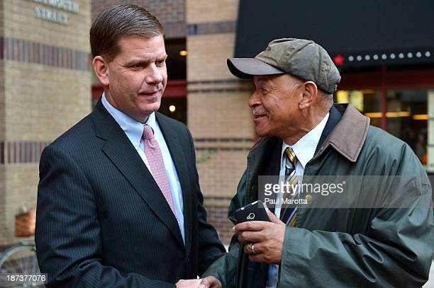 Boston Mayoral Candidate Marty Walsh, on the campaign trail meeting Boston voters, wins the election by defeating John Connolly 52-48% replacing...