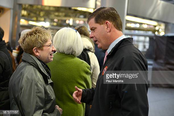 Boston Mayoral Candidate Marty Walsh on the campaign trail meeting Boston voters wins the election by defeating John Connolly 5248% replacing 5term...