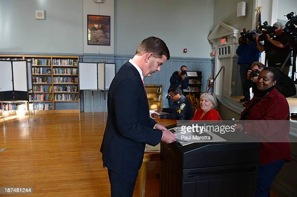 Boston Mayoral Candidate Marty Walsh voting on November 5 Election Day in Boston wins the election by defeating John Connolly 5248% replacing 5term...