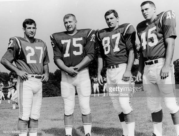 Boston Patriots players Joe Bellino Ed Toner Bobby Nichols Ray Ilg pose for a portrait together on July 25 1967