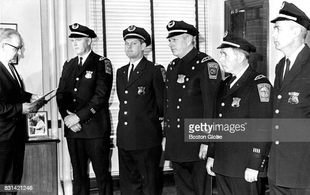 Boston Police Commissioner Edmund McNamara far left stands with new Deputy Superintendents of the Boston Police Department on Apr 15 1969 From From...