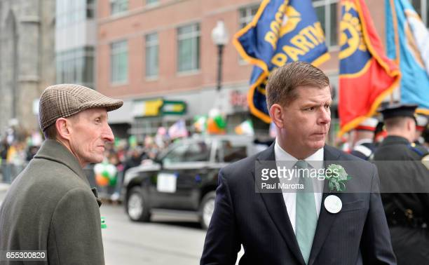 Boston Police Commissioner William Evans and Boston Mayor Marty Walsh participate in the St Patrick's Day Parade on March 19 2017 in Boston...