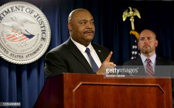 Boston Police Commissioner William Gross speaks during a press conference at the Moakley Federal Courthouse in Boston to announce federal RICO...