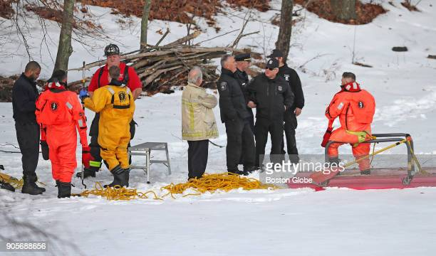 Boston Police conduct a search of Jamaica Pond in response to a report that an individual had fallen through the ice on Jan 12 2018 A bicycle was...