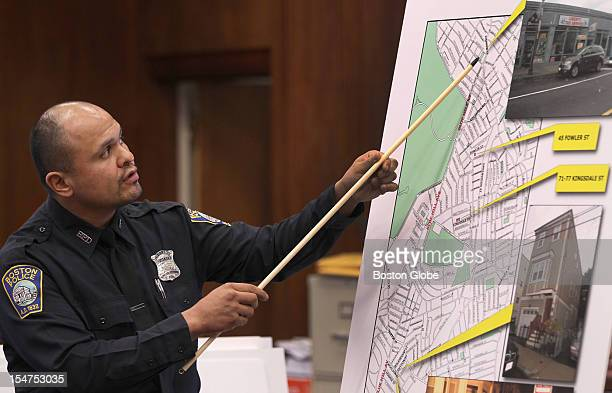 Boston Police Officer Javier Vazquez explains a crime scene where the vehicle was found in Boston The trial about the Mattapan massacre in 2010 with...