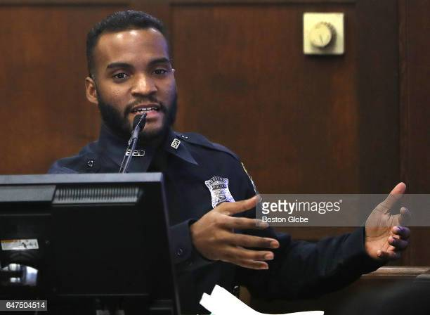Boston Police Officer Luciano Cirino Ayuso testifies during the double murder trial of former New England Patriots tight end Aaron Hernandez at...