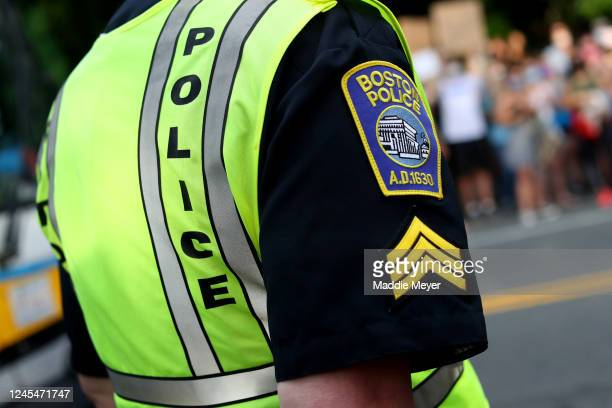 Boston Police Officer stands beside a protest on June 04, 2020 in Boston, Massachusetts. The protests were in response to the death of George Floyd,...