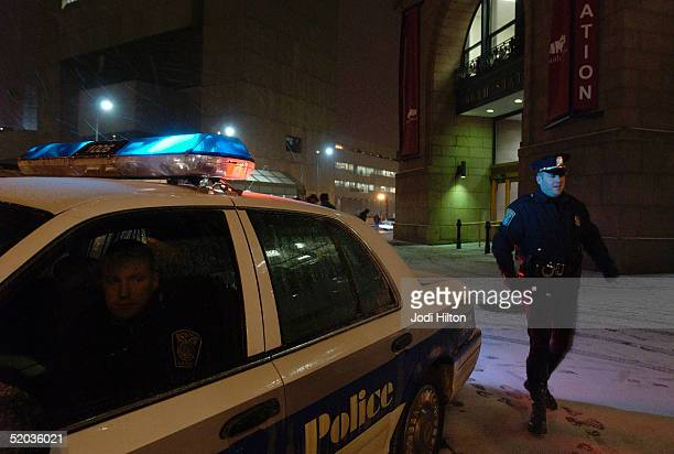 Boston Police officers Dennis Murphy and Billy Cloran patrol outside the South Station train station during an alert for a possible terror threat...