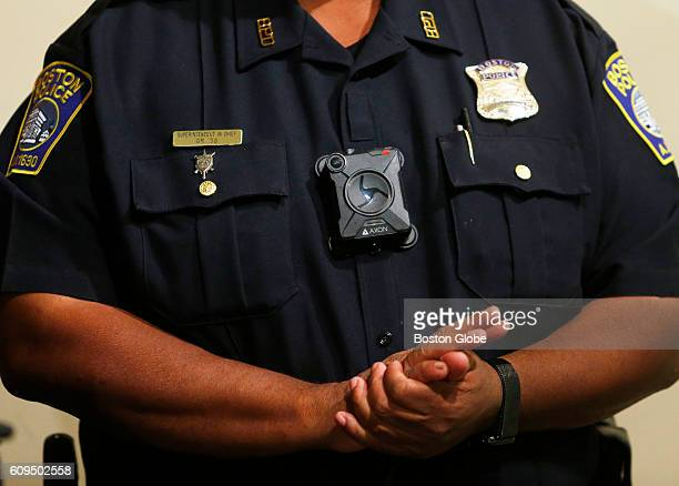 Boston Police Superintendent in Chief William Gross wears a body camera during a press conference at Police Headquarters in Boston on Sept. 20, 2016.