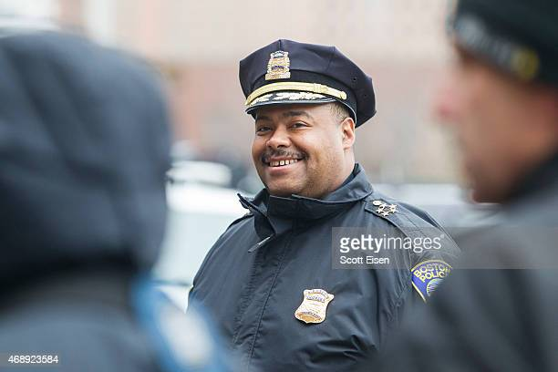 Boston Police SuperintendentinChief William Gross outside of John Joseph Moakley United States Courthouse before a press conference with victims of...