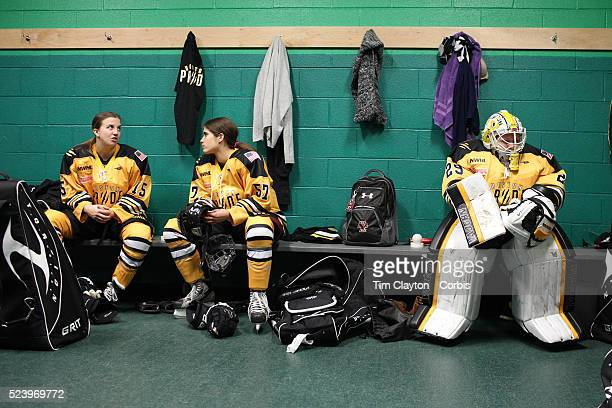 Boston Pride players Emily Field Meagan Mangene and Goal Tender Brittany Ott prepare in the dressing room before the Connecticut Whale vs Boston...