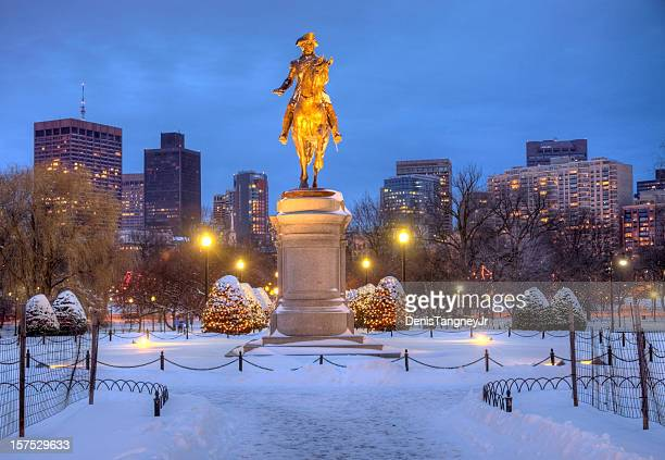 boston public garden in winter - boston common stock pictures, royalty-free photos & images