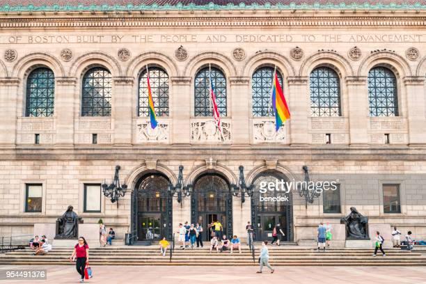 boston public library copley square massachusetts, usa - copley square stock-fotos und bilder