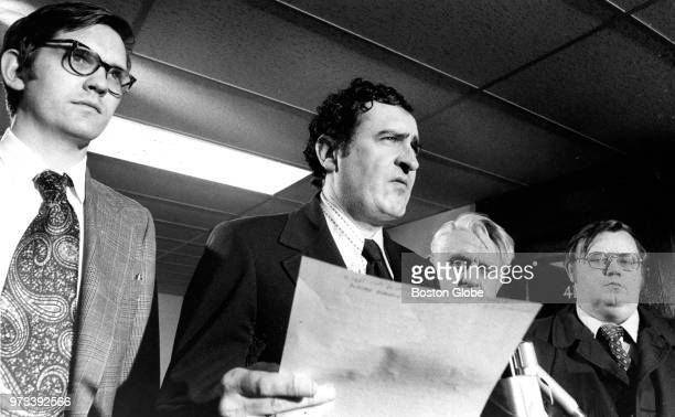 Boston Public Schools superintendent William J Leary second from left stands with from left School Committee attorney John Mirick South Boston High...