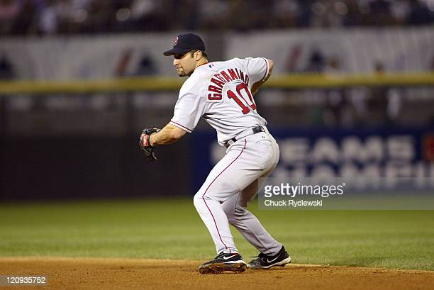 Boston Red Sox' 2nd Baseman Tony Graffanino fields a ground ball during the 2nd game of the ALDS against the Chicago White Sox at US Cellular Field...
