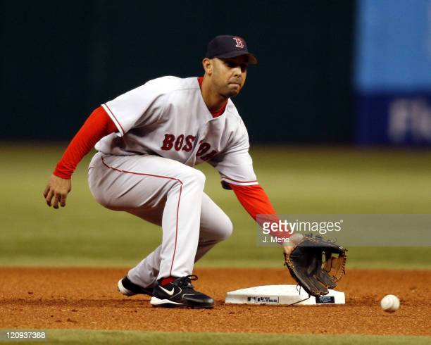 Boston Red Sox' Alex Cora fields this throw at second during Wednesday night's game against Tampa Bay Devil Rays at Tropicana Field in St Petersburg...