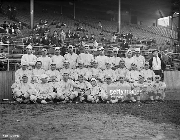 Boston Red Sox American League Champions of 1916Front row left to right Hoblitzel Pennock Shore Ruth 'Red' Glennon mascot Mays Shorten Leonard and...