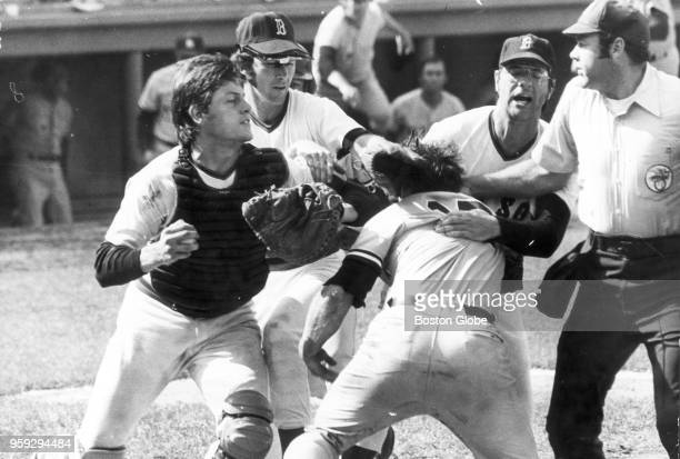Boston Red Sox and New York Yankees players get in a fight at home plate during a game at Fenway Park in Boston on Aug 1 1973