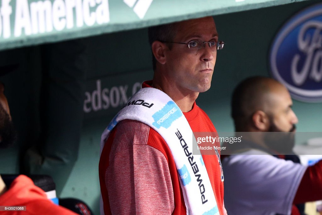 Boston Red Sox assistant athletic trainer Jon Jochim looks on from the dugout before the game against the Toronto Blue Jays at Fenway Park on September 6, 2017 in Boston, Massachusetts.