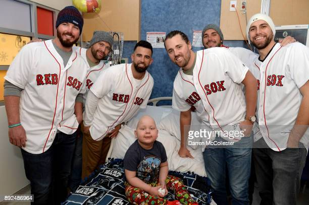 Boston Red Sox Austin Maddox Brian Johnson Devin Marrero Heath Hembree Robby Scott and Matt Barnes visit Lucas at Boston Children's Hospital December...