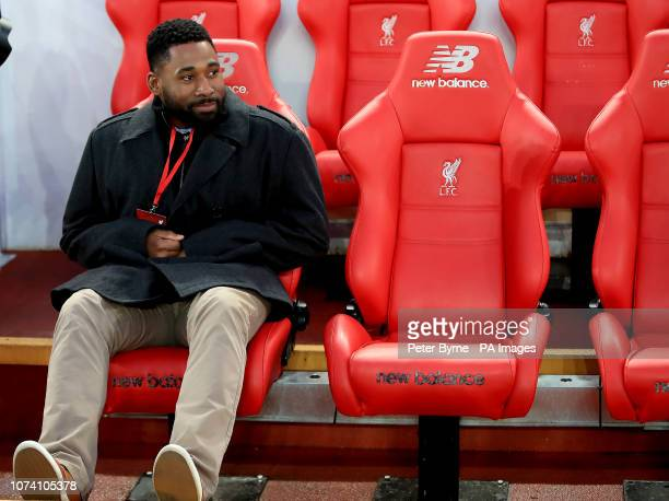 Boston Red Sox baseball player Jackie Bradley Jr ahead of the Premier League match at Anfield Liverpool