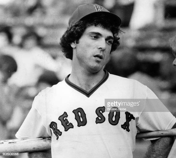Boston Red Sox Bernie Carbo holds a bat behind his back during a game against the Chicago White Sox at Fenway Park in Boston June 13 1977