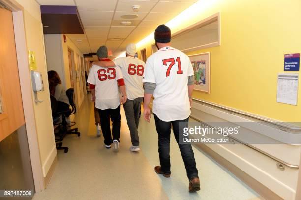 Boston Red Sox Brian Johnson Matt Barnes and Austin Maddox visit the kids at Boston Children's Hospital December 14 2017 in Boston Massachusetts