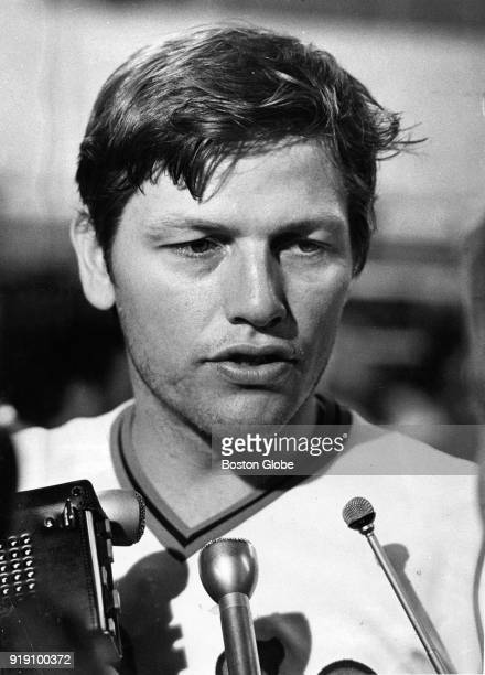 Boston Red Sox Carlton Fisk answers reporter's questions after a final world series game against the Cincinnati Reds at Fenway Park in Boston Oct 22...