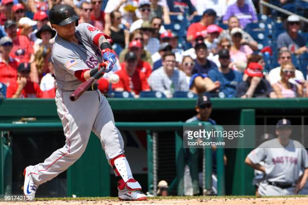 Boston Red Sox catcher Christian Vazquez bats in the third inning during the game between the Boston Red Sox and the Washington Nationals on July 4...