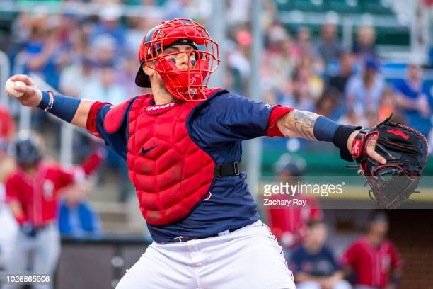 Boston Red Sox catcher Christian Vazquez catches for the Portland Sea Dogs while on a rehab assignment for the Boston Red Sox at Hadlock Field on...