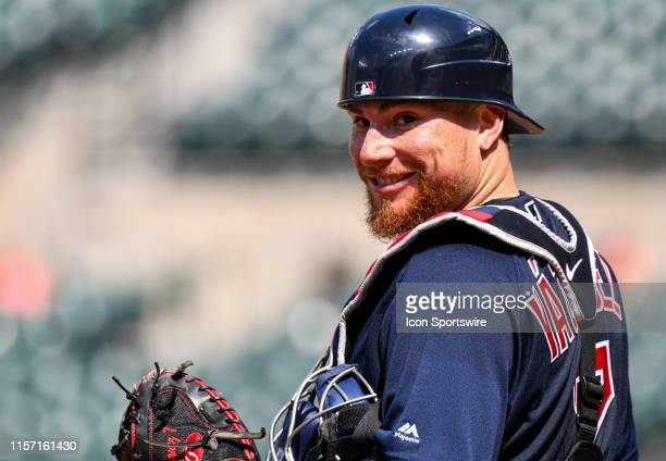 Boston Red Sox catcher Christian Vazquez smiles after taking a foul ball during the game between the Boston Red Sox and the Baltimore Orioles on July...