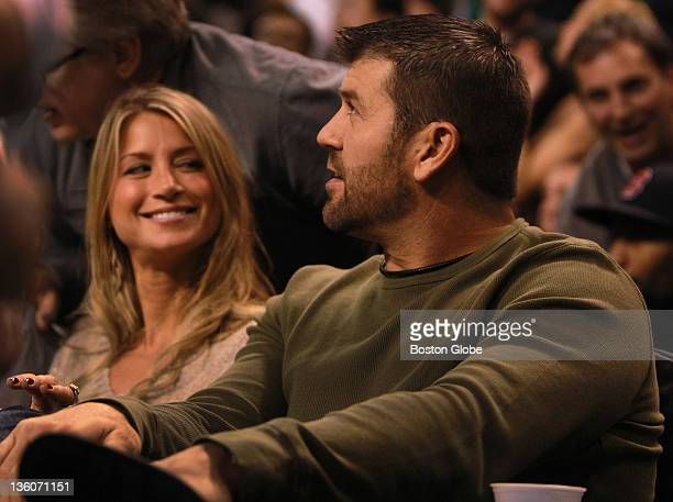 Boston Red Sox catcher Jason Varitek and his wife Catherine were court side for tonight's preseason matchup against the Toronto Raptors