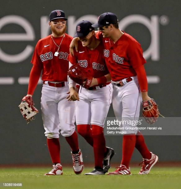 Boston Red Sox center fielder Alex Verdugo , Boston Red Sox center fielder Enrique Hernandez and Boston Red Sox right fielder Hunter Renfroe...