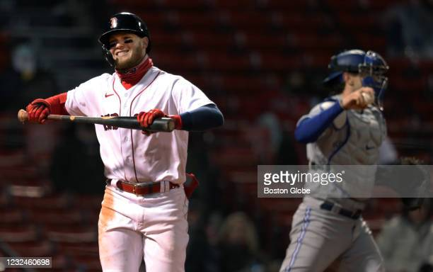 Boston Red Sox center fielder Alex Verdugo reacts after striking out to end the bottom of the third inning. The Boston Red Sox hosted the Toronto...