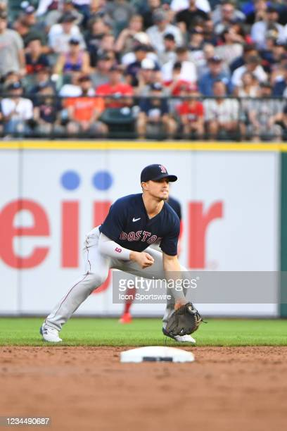 Boston Red Sox center fielder Enrique Hernandez gets ready for a play during the Detroit Tigers versus the Boston Red Sox game on Wednesday August 4,...