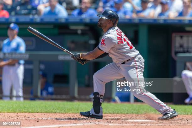 Boston Red Sox center fielder Jackie Bradley Jr at bat during the MLB game against the Kansas City Royals on July 08 2018 at Kauffman Stadium in...