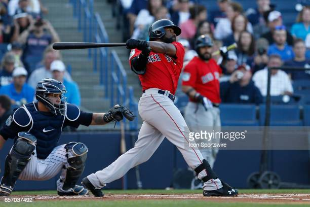 Boston Red Sox center fielder Jackie Bradley Jr at bat during the Spring Training game between the Boston Red Sox and New York Yankees on March 21 at...