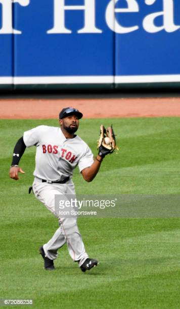 Boston Red Sox center fielder Jackie Bradley Jr catches a fly ball in the ninth inning against the Baltimore Orioles on April 23 2017 at Orioles Park...
